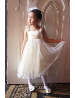 A Line Lace Straps Short Tea Length Ivory Tulle Flower Girl Dress
