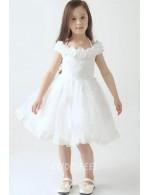 Beautiful Short Knee Length White Tulle Lace Flower Girl Dress