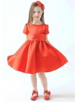 Princess Short Sleeve Knee Length Red Flower Girl Dress With Sash