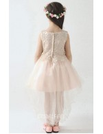 Pear Pink Lace Tulle Sleeveless Short Knee Length Flower Girl Dress