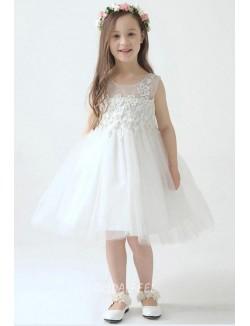 Pretty White Lace Tulle Sleeveless Short Knee Length Flower Girl Dress
