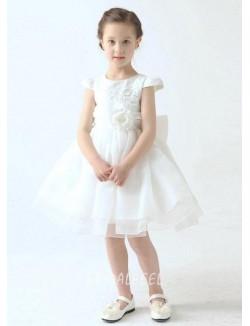 Cute Cap Sleeves Short Knee Length White Organza Flower Girl Dress