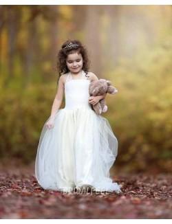 Ivory Halter Floor Length Wedding Flower Girl Dress