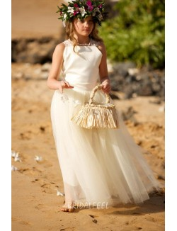 Satin And Tulle Ivory Wedding Flower Girl Dress