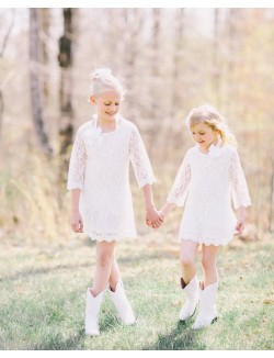 White Lace Flower Girl Dress With 3 4 Sleeves