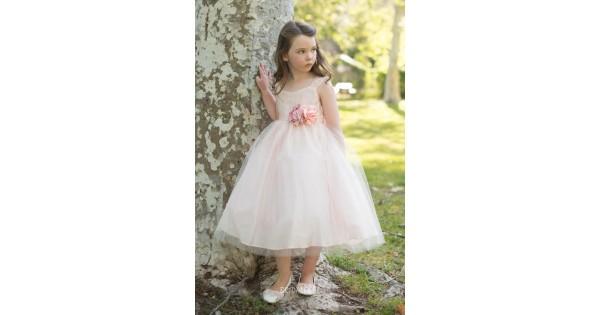 Blush Ball Gown Wedding Dress: Blush Pink Puffy Ball Gown Tea Length Flower Girl Dress