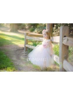 Pink Butterfly Toddler Tulle Flower Girl Dress