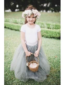 Two Tone Floor Length Tulle Wedding Flower Girl Dress