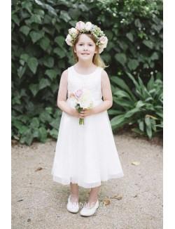 Tea Length Ivory Jewel Neck Flower Girl Dress