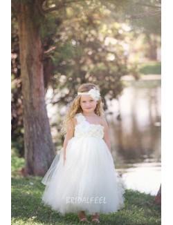 Ivory Floral One Shoulder Tulle Flower Girl Dress