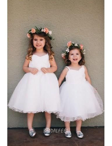 White Tea Length Princess Wedding Flower Girl Dress