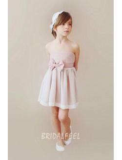 Strapless Short Pink Flower Girl Dress For Less