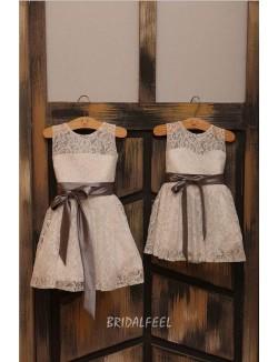 Illusion Ivory Lace Short Flower Girl Dress