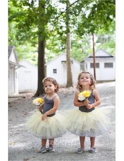 Sleeveless Two Tone Short Flower Girl Dress