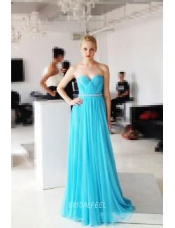 Beautiful Beaded Strapless Sweetheart Neck Long Aqua Blue Chiffon Prom Dress