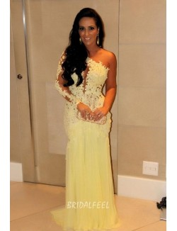 One Shoulder Long Sleeve Yellow Lace Floor Length Sexy Prom Dress