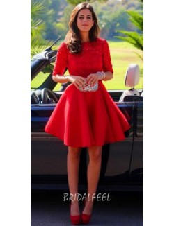 Elegant Crew Neck Short Red Satin Lace Cocktail Dress With Sleeves