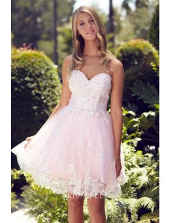 Sparkly Floral Embroidered Pink Tulle Strapless Sweetheart Cocktail Dress