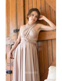Crisscrossed Halter Neck Sleeveless A Line Long Multi Wear Bridesmaid Dress