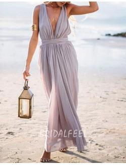 Plunging V Neck Sleeveless Grey Chiffon Sexy A Line Long Prom Dress