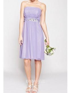 Vintage Strapless Short Knee Length Lavender Chiffon Bridesmaid Dress