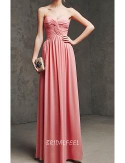 Elegant Strapless Sweetheart Long A Line Chiffon Bridesmaid Dress