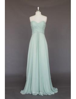 Simple A Line Strapless Sweetheart Long Chiffon Bridesmaid Dress