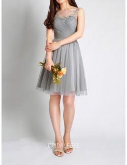 Illusion Neck Sleeveless Short Knee Length Grey Tulle Bridesmaid Dress