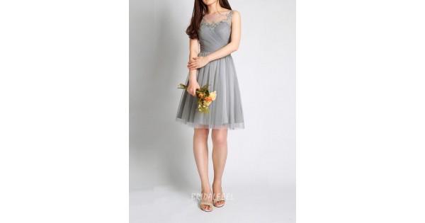 Light Gray Bridesmaid Dresses Knee Length Soft Tulle: Illusion Neck Sleeveless Short Knee Length Grey Tulle