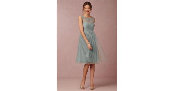 Light Gray Bridesmaid Dresses Knee Length Soft Tulle: Illusion Neck Sleeveless Simple Short Knee Length Tulle
