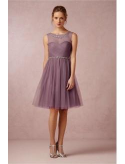 Unique A Line Illusion Neck Short Knee Length Tulle Bridesmaid Dress