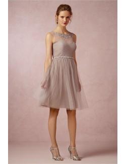 Illusion Neckline Vintage Short Knee Length Tulle Bridesmaid Dress