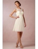 Elegant Short Knee Length A Line White Tulle Bridesmaid Dress