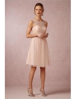 Illusion Neck Sleeveless Simple Short Knee Length Tulle Bridesmaid Dress
