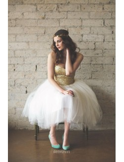 Gold And Ivory Two Tone Tea Length Strapless Cocktail Bridesmaid Dress
