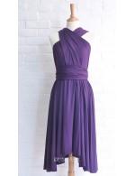 Purple Asymmetrical Short Unique Multi Wear Bridesmaid Dress