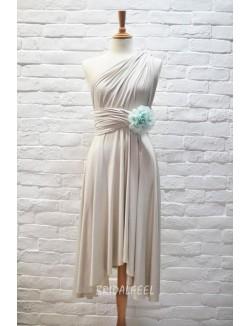 Unique Cream Multi Wear Short Bridesmaid Dress