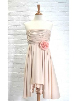 Pleated Strapless Simple Short Bridesmaid Dress With 3D Flower