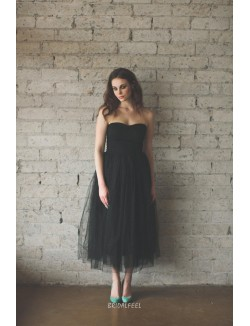 Black Tulle Strapless Curved Neckline Tea Length Cocktail Dress