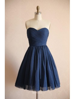 Navy Chiffon Strapless Sweetheart Short Simple Bridesmaid Dress