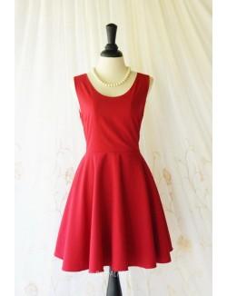 Red Satin Short Simple Bridesmaid Dress Sleeveless Jewel Neckline