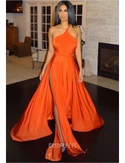 Orange One Strap Sexy Slit Unique Long Prom Dress