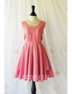 Sleeveless Jewel Neck Pink Short Bridesmaid Dress
