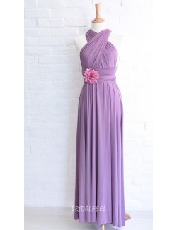 Purple Chiffon A Line Long Bridesmaid Dress