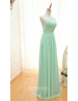 One Shoulder Mint Green Chiffon Long Bridesmaid Dress
