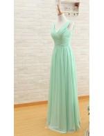 A Line V Neck Mint Green Chiffon Simple Long Bridesmaid Dress