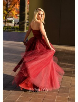 Strapless Ruby Tulle Ball Gown Uniqe Prom Dress
