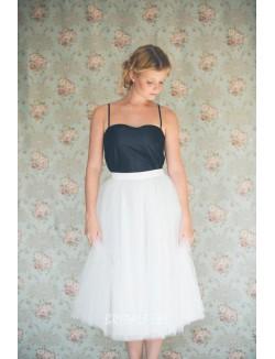 White And Navy Two Tone Tea Length Bridesmaid Dress