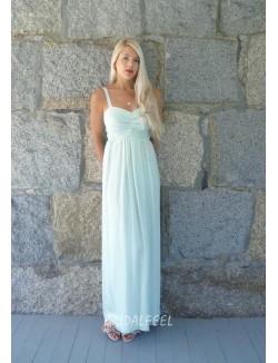 Light Blue Chiffon Sheath Long Bridesmaid Dress