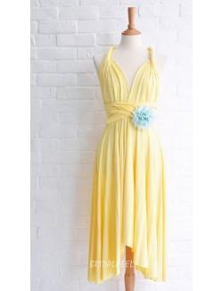 Yellow Chiffon Short Simple Bridesmaid Dress